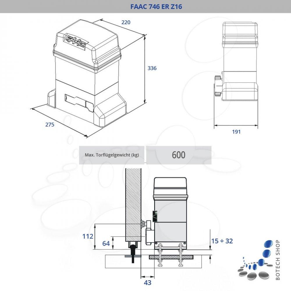 Faac 746 er z16 motor para puertas correderas - Motor para puertas correderas ...