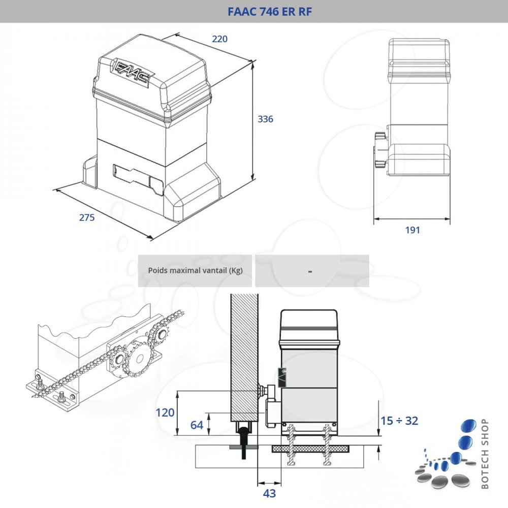 faac 746 er rf motorisation pour portail battant. Black Bedroom Furniture Sets. Home Design Ideas