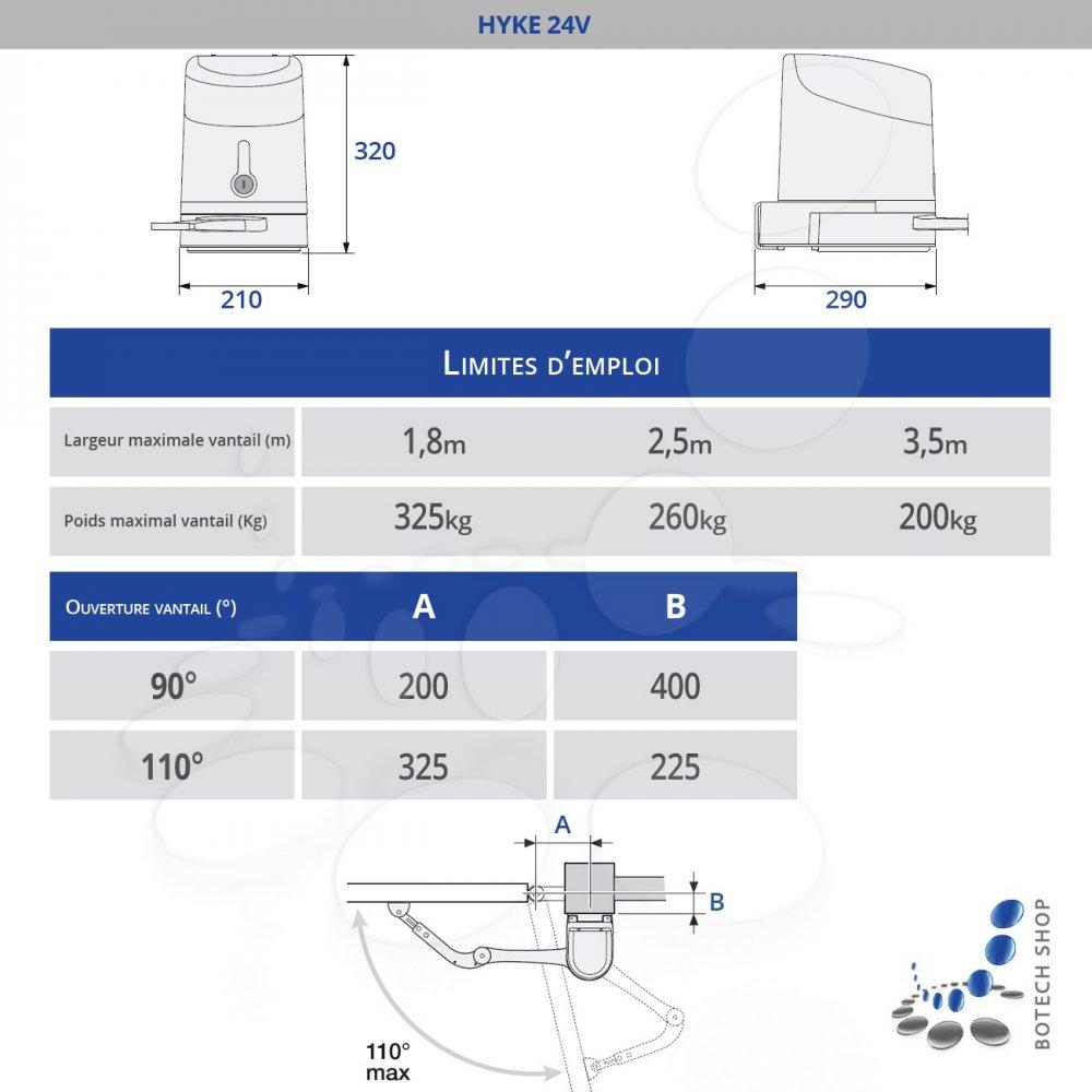 nice hyke 7024 1 moteur 24v pour les portails battants kit l. Black Bedroom Furniture Sets. Home Design Ideas