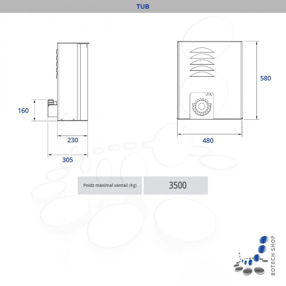 nice tub moteur 400v 3 phases pour les portails coulissants kit l. Black Bedroom Furniture Sets. Home Design Ideas